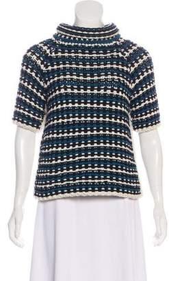 Fendi Short Sleeve Striped Turtleneck
