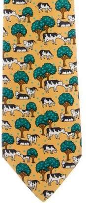 Hermes Silk Cow Print Tie