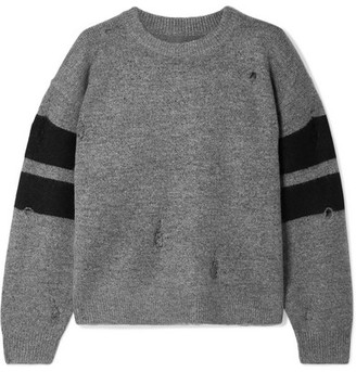 Current/Elliott The Yates Distressed Striped Knitted Sweater - Gray