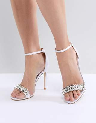 Barely There Be Mine Bridal Penny Ivory Satin Embellished Sandals