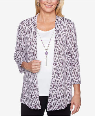 Alfred Dunner Printed Layered-Look Necklace Top