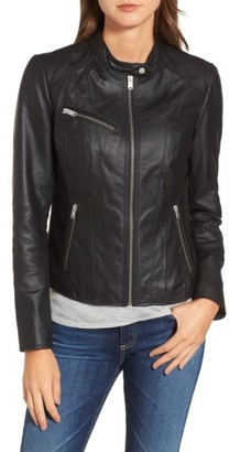 Women's Andrew Marc Felicity Leather Moto Jacket $330 thestylecure.com