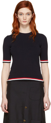 Thom Browne Navy Open Stitch Pullover $990 thestylecure.com