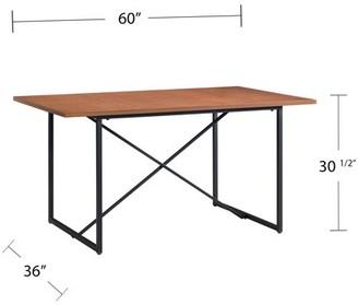 Southern Enterprises Coday Farmhouse Dining Table, Contemporary, Black, Walnut