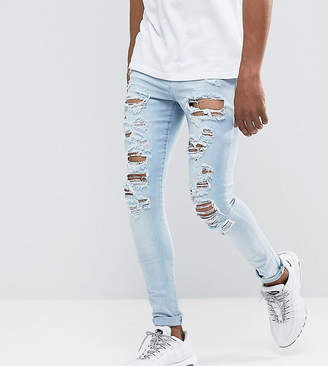 Jaded London Super Skinny Jeans In Light Blue With Distressing