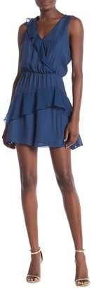 Parker Lexi Surplice Ruffle Silk Blend Skater Dress