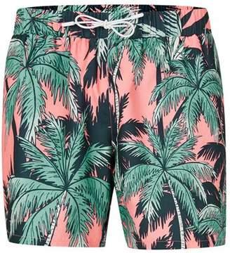 Topman Mens Pink and Green Palm Print Swim Shorts