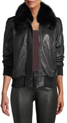 A.L.C. Aran Zip-Front Leather Bomber Jacket w/ Fur Collar