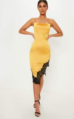 PrettyLittleThing Yellow Satin Cowl Neck Lace Trim Asymmetric Hem Midi Dress