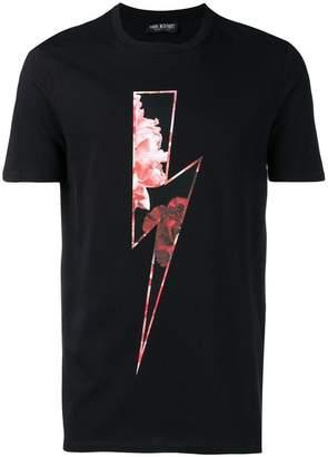 Neil Barrett floral lightning bolt T-shirt