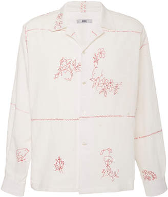 BODE Havana Embroidered Cotton-Poplin Shirt Size: S/M