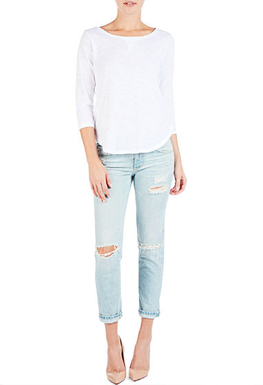 AG Jeans The 3/4 Sleeve Scoop Neck - White
