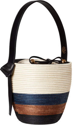 Cesta Collective Lunchpail Leather-Trimmed Striped Sisal Bag