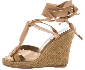 Christian Louboutin  Christian Louboutin Metallic Wrap-Around Wedges