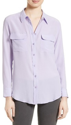 Women's Equipment 'Slim Signature' Silk Shirt $214 thestylecure.com