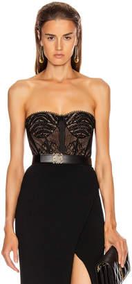 Jonathan Simkhai Lace Bustier Bodysuit in Black | FWRD
