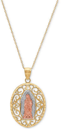 "Macy's Tricolor Our Lady of Guadalupe 18"" Pendant Necklace in 14k Gold, Rose Gold & Rhodium-Plate"