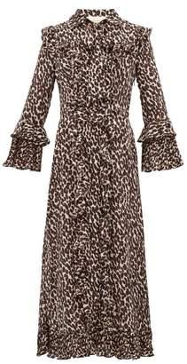 La DoubleJ Leopard Print Georgette Midi Dress - Womens - Leopard