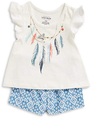 Lucky Brand Girl's Feather Cotton Top and Printed Shorts Set