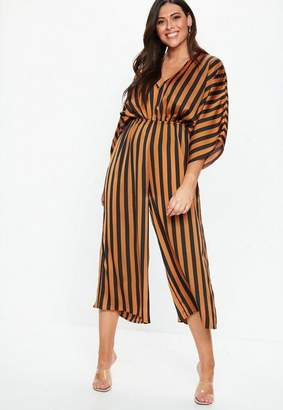 Missguided Plus Size Rust Kimono Sleeve Stripe Romper