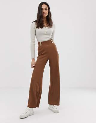 Asos Design DESIGN wide leg pants in textured rib with natural buttons