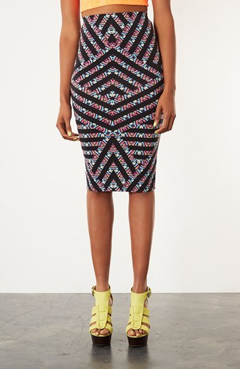 Topshop Chevron Print Tube Skirt Black Multi 4