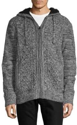 Buffalo David Bitton Faux Fur-Trimmed Cable Knit Sweater