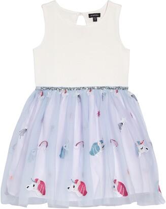 Zunie Unicorn Tulle & Ponte Fit & Flare Dress