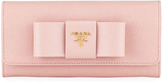 Prada Saffiano Continental Flap Wallet with Bow