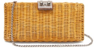 Rodo Leather Trimmed Wicker Clutch Bag - Womens - Brown