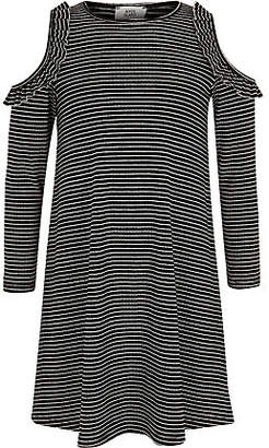River Island Girls Black stripe ribbed cold shoulder dress