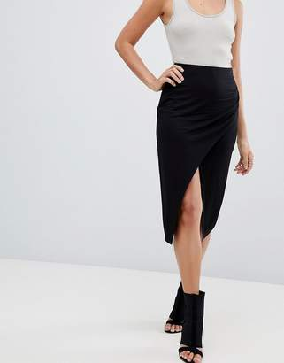 Asos DESIGN wrap midi skirt with split and ruching