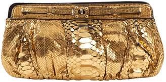 Zagliani Metallic Python Clutch Bag