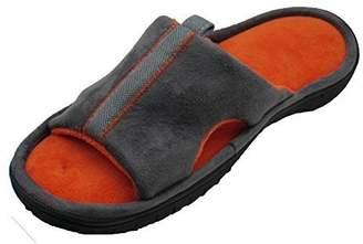 Isotoner Mens Classic Open Toe Slippers (Grey/Orange) (XL (11-12))