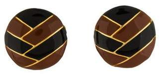Lanvin Round Enamel Clip-On Earrings