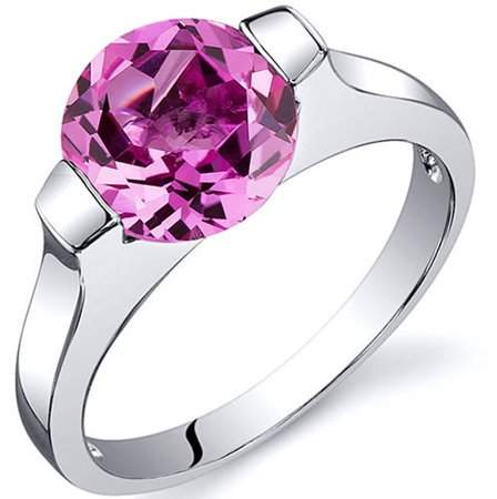 Oravo 2.75 Carat T.G.W. Created Pink Sapphire Rhodium-Plated Sterling Silver Engagement Ring