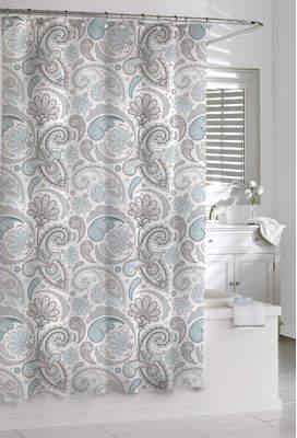 Kassatex Cotton Paisley Shower Curtain