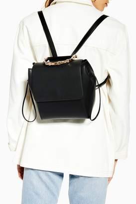 Topshop Womens Bella Black Bamboo Handle Backpack - Black