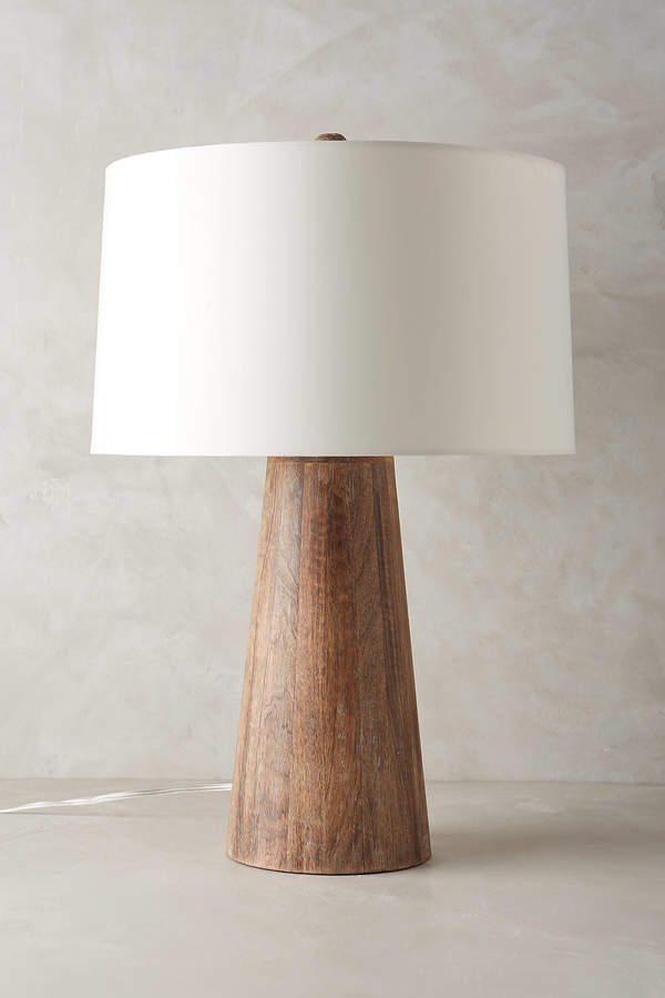 AnthropologieAnthropologie Wood Barrel Table Lamp
