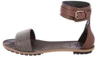 Brunello Cucinelli Monili-Embellished Leather Sandals