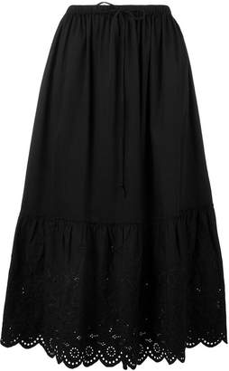 McQ embroidered flared midi skirt