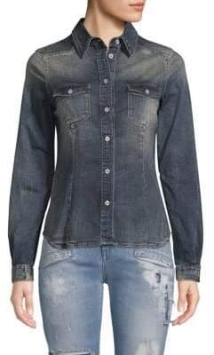 Pierre Balmain Long-Sleeve Denim Button-Down Shirt