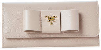 Prada Pink Bow Saffiano Leather Flap Wallet