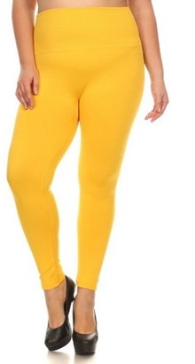 K-Cliffs Lady's Full Length Seamless FLEECE Leggings, Plus Size/One Size (Usually fits sizes 12-16), Mustard