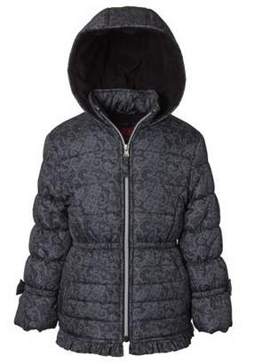 Pink Platinum Cheetah Lined Puffer Jacket with GWP Scarf (Little Girls & Big Girls)
