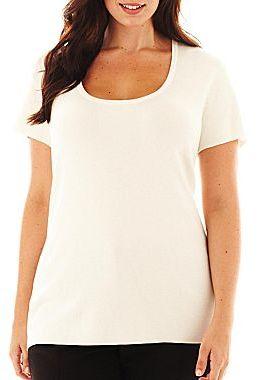 Liz Claiborne Short-Sleeve Layering Sweater - Plus