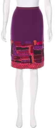 Oscar de la Renta Embroidered Wool Skirt
