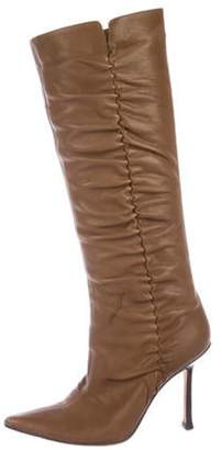 Jimmy Choo Ruched Leather Knee-High Boots brown Ruched Leather Knee-High Boots
