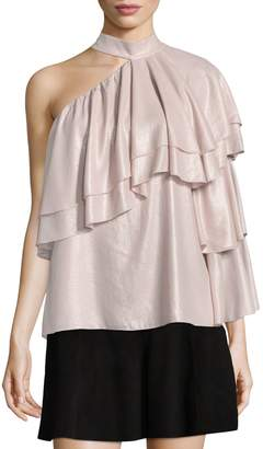 Parker Ophelia Ruffled One-Shoulder Choker Blouse