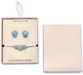 Badgley Mischka Crystal Stud Earrings & Slider Bracelet Set